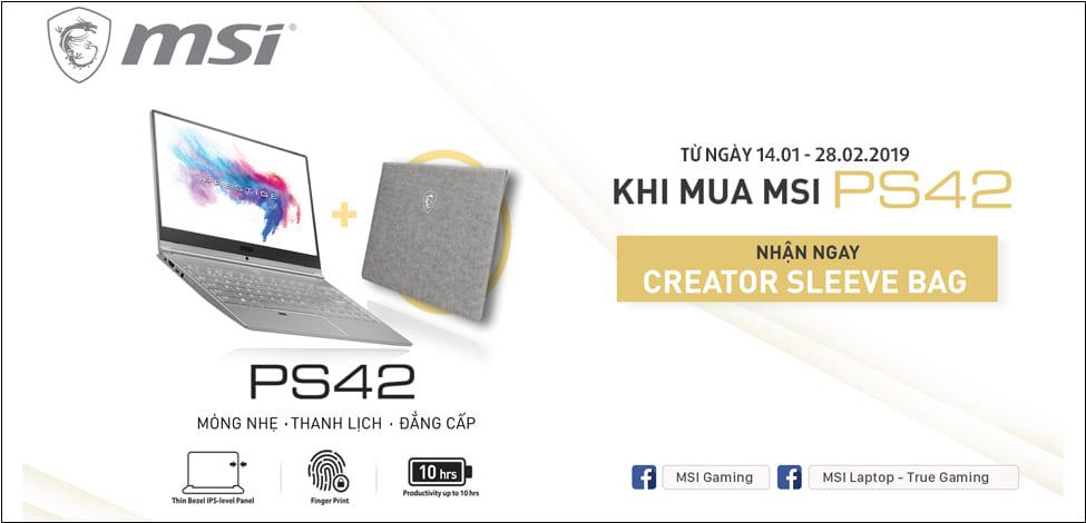 Chương trình khuyến mãi khi mua Laptop MSI PS42